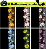 6 vector halloween cards, invitation or background with pumpkins
