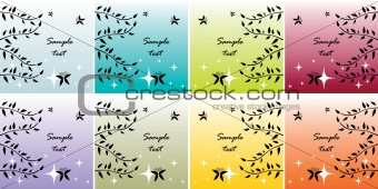 abstract butterfly and leaves cards set, posters, backgrounds