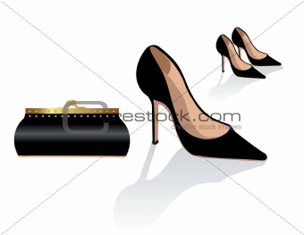 Black stiletto shoes and bag, vector fashion illustration, class
