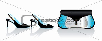 Black stiletto summer shoes and bag, vector fashion illustration