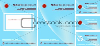 Blue Medical backgrounds, cover and Business card set. Blue exam