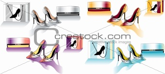 Color stiletto shoes and bag, vector fashion illustration set,
