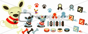 Dogs icons set, pets & accessory. Happy chihuahua puppy
