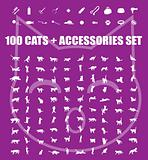 Great 100 cats and accessories icons set, vector pet emblem, cat