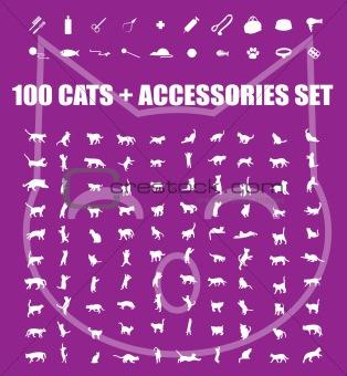 Great 100 cats and accessories icons set, vector pet emblem, cat