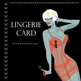 lingerie card with beautiful sexy woman and ribbon. Background, 