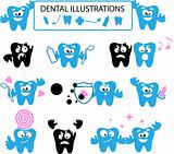 Medical illustrations, dental web icons set, tooth emotions, kid