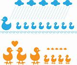 Vector Feathered duck family, group of bird, mom & kids