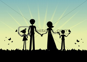 Young family Silhouette, sunset vector cartoon background.