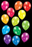 colorful balloons with stars