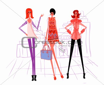 3 cartoon girl, modern woman vector illustration