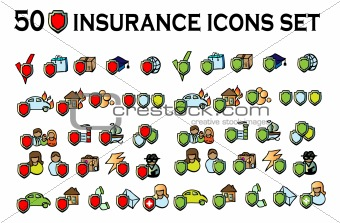 50 insurance icons set, all types, big vector art collection