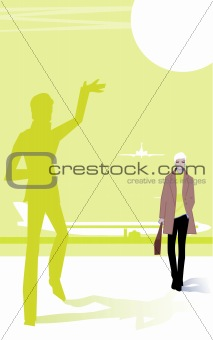 Abstract Vector background - meeting at airport, friendship, bus