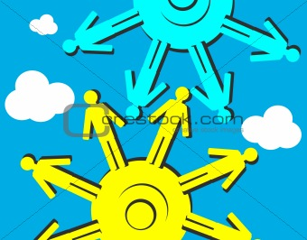 Art Vector People Cogs background, Human Resources construction