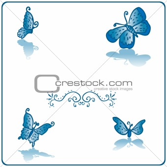Beautiful butterfly fake paper card blue card