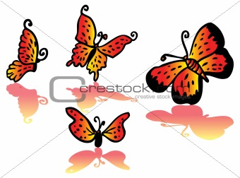 Beautiful fire-colored butterfly set vector cartoon