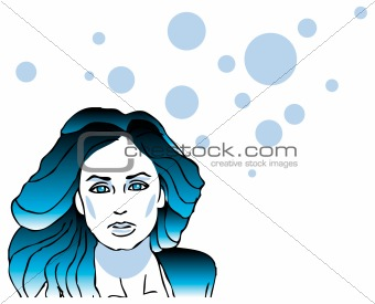 Beautiful spa woman face card, girl with long hair poster