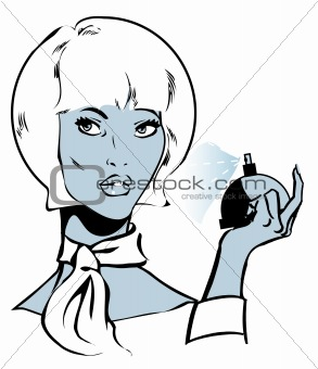 Beautiful woman with perfumes, vector illustration background