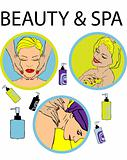 beauty & spa icons, relax woman, vector sticker, fake emblem