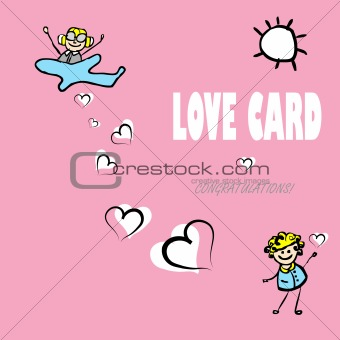 Card by Day of Valentine, vector cartoon love