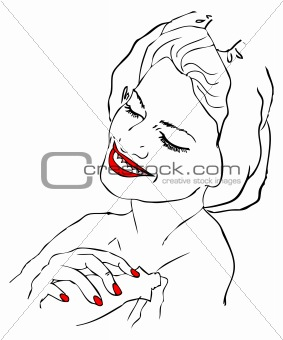fake tattoo beautiful woman in spa bath with hands massage. red