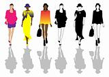 Fashion clothing illustration, vector design dress, models, show