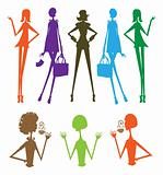 Fashion girls group silhouette, beauty, shopping, cafe, talking,