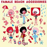 Female beach accessories icons.Woman vacation