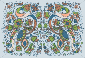 Floral pattern blue background
