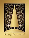 Gold christmas card with new year tree and snow balls ornament