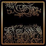 Gold flower card. stylized design floral elements