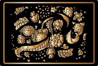 Gold flower vintage gold floral background. stylized design elem