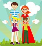 Happy Family card, vector background, wallpaper. Smiling People