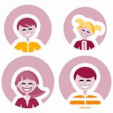 Happy family vector icons, logo element, decoration