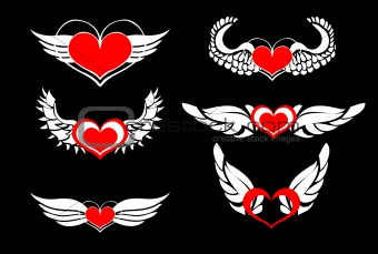 Heart Wings, vector design elements, emblem, stickers