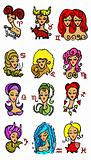 Horoscope woman Symbols, Astrology vector set 1
