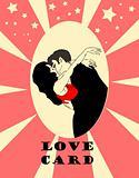 Love card, congratulations emblem, hug. Vector wedding icons wit