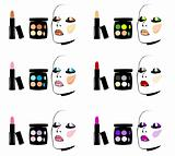 Face Cosmetics Makeup : eyes, lips, ruddy