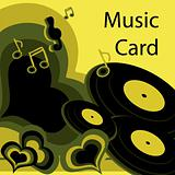 Music card vintage retro card, green Vinyl love