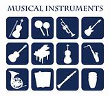 Musical instruments,web icons silhouette