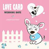 Pet in Wedding card, love, congratulations logo. Vector dog icon