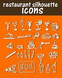 Restaurant silhouette stickers, icons, emblem