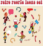Set of retro peoples icons, vintage arrow