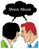 Shout, Abuse couple in vintage retro style illustration style
