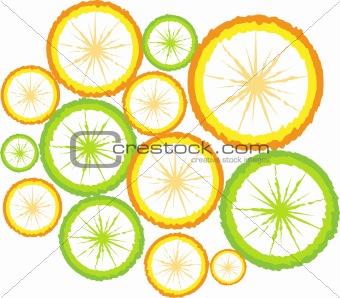 sliced Fruit citrus Background, Vector lemon, orange, fake fresh