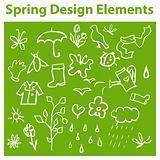 Spring Design Elements, season icons, tag, emblem