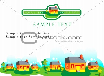 Vector real estate background for purposes. Townhouse decoration