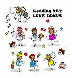 wedding love icons set, kids cartoon design, isolated wed people