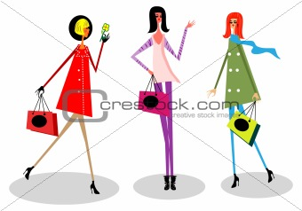 Woman in the city, shopping, spring, happy life emblem isolated