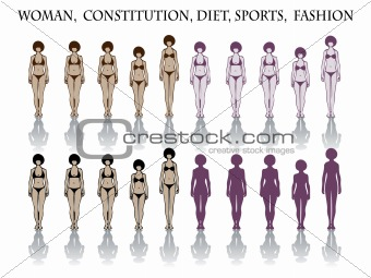 woman, constitution, diet, sports, fashion. silhouette